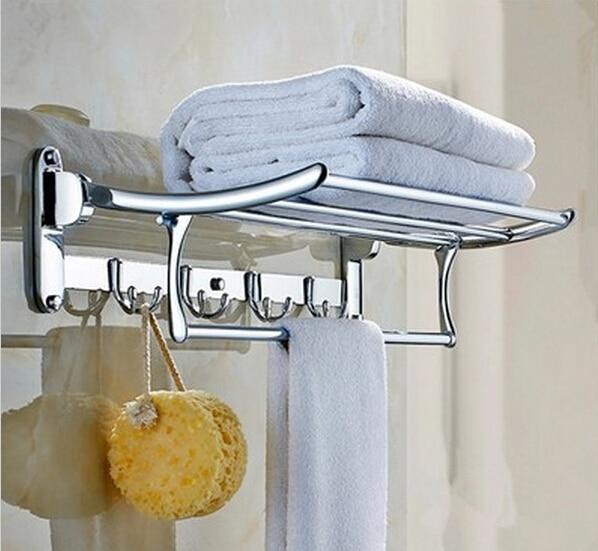 free shipping 60CM stainless stee l towel rack single bar bathroom accessories cloth rack multifunction rack hooks folding rack