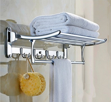 free shipping 60CM stainless stee l towel rack single bar bathroom accessories cloth rack multifunction rack hooks folding rack