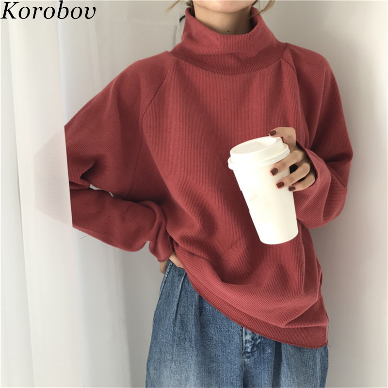 Korobov Women Sweater Pullovers Turtleneck Solid-Sueter Long-Sleeve Loose Female Korean
