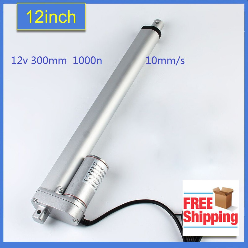 12V,300mm/ 12 inch stroke, 1000N/100KGS/225LBS load linear actuator electric lifting  linear actuator tubular motor  motion -1PC wholesale 12v linear actuator 150mm 6 inch stroke 7000n 700kg load waterproof 36v tubular motor 48v mini electric actuator 24v