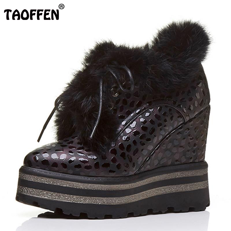 TAOFFEN Women Ankle Platform Boots Wedges Snow Boots Warm Fur Botas In Cold Winter Shoes Inside Heel Women Footwears Size 34-39 rizabina cold winter snow shoes women real leather warm fur inside ankle boots women thick platform warm winter botas size 34 39