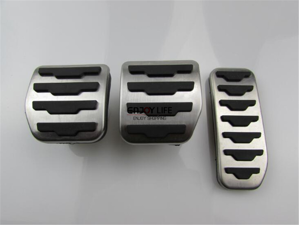 3pcs MT Stainless Steel Gas Fuel Brake Clutch Foot Pedal Cover For LR Range Rover Evoque 2011-2015