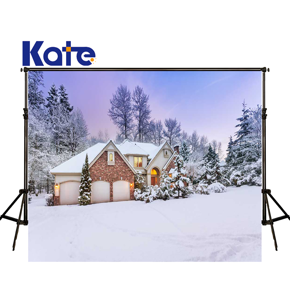 KATE 5x7ft Christmas Backdrops Kids Winter Backdrop Snow Scenery Background Christmas Village Houses Forest Backdrop for Studio kate photo background scenery