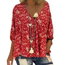 5d318f2310 M-4XL mujeres Tops y blusas Floral impreso camiseta Casual 3 4 manga  volantes túnica Top mujer cuello en V suelto Boho blusa