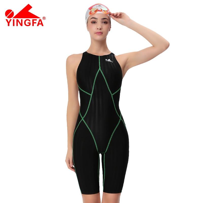 Yingfa FINA approuvé d'une seule pièce concurrence genou longueur étanche résistant au chlore femmes maillots de bain de requin maillot de bain