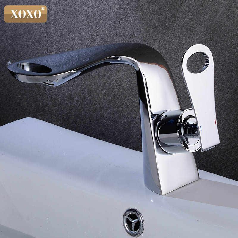 XOXO Chrome bateria umywalkowa ciepła i zimna łazienka Mixer Tap nowoczesny pojedynczy uchwyt bateria zlewozmywakowa stojąca Tap Deck Mounted Basin Crane 21095