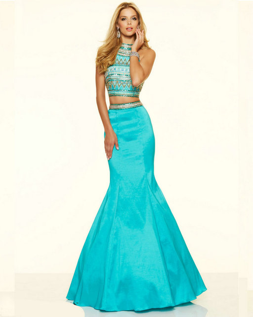 Style 98105 Neon Pink Satin Party Dresses High Neck Blue Mermaid ...