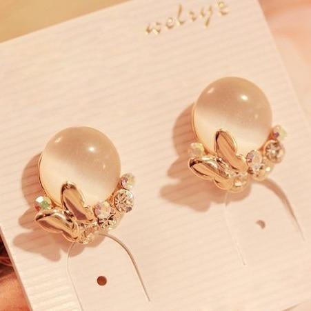 Nuovo Stile Della Corea del Rhinestone di Modo Femminile Piatto D'oro Farfalla Opale Orecchini per le donne Jewlry E039