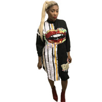 Fashion Sequin Long Shirt Dress Women PUNK Letter Red Lips Splice Full Sleeve Dress Autumn New Street Wear Casual Vestidos