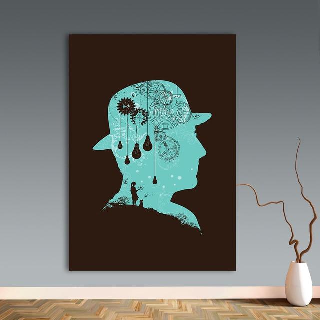 WANGART Leinwand Bilder Zu Magritte Ideen Wandkunst Malerei Home Decor  Poster Und Drucke Minimalismus Für Wohnzimmer