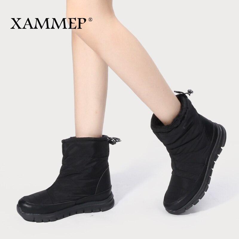 Xammep Winter Shoes Calf-Boots Big-Size High-Quality Women's Brand Wool Plush Mid