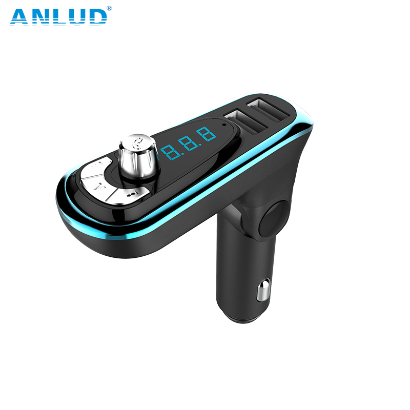 ANLUD Wireless Bluetooth FM Transmitter Hands-free Car Kit Dual USB Car Charger Radio Modulator Audio New2018 MP3 Music Player 3 in 1 universal car kit mp3 player fm transmitter bluetototh car modulator radio dual port car charger for iphone for samsung