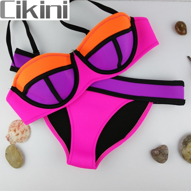 Neoprene Swimwear Women  Bikini Woman New Summer 2018 Sexy Swimsuit Bath Suit Push Up Bikini set Bathsuit  TA003B Cikini neoprene swimwear women bikini woman new summer 2017 sexy swimsuit bath suit push up bikini set bathsuit ta008y