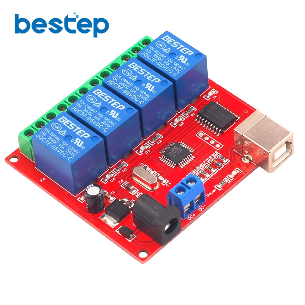 4 Channel 5V 12V 24V Relay Module Computer USB Control Switch Free Driver PC Intelligent Controller4 Channel 5V 12V 24V Relay Module Computer USB Control Switch Free Driver PC Intelligent Controller