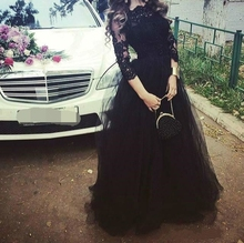 Evening Dresses With 3/4 Long Sleeves Black Lace Tulle Appliqued Formal Dress Custom Cheap Prom Gown 2019