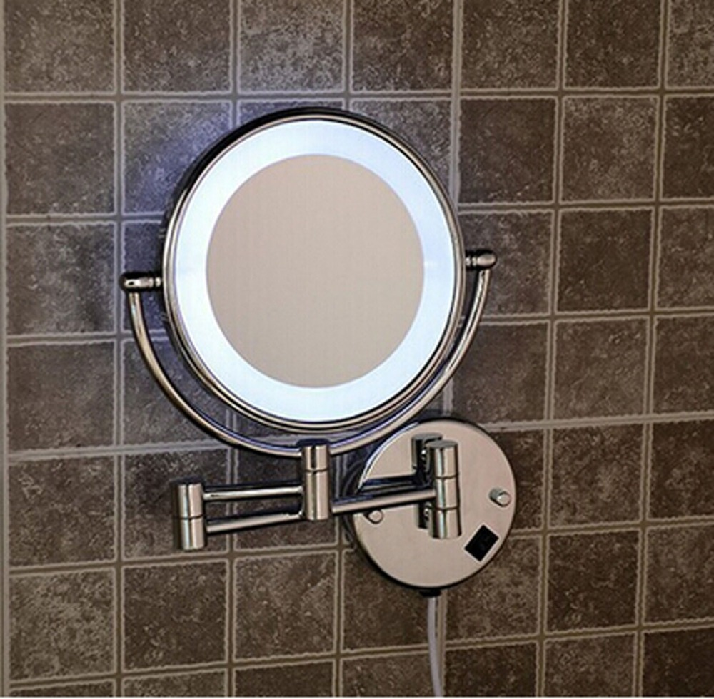 Wall mounted magnifying mirrors for bathrooms - 2015 Hot 8 Inch Bathroom Led Makeup Cosmetic Magnifying Mirrors Wall Mounted Makeup Mirror With Light 7x In Makeup Mirrors From Beauty Health On