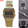 Moda Oro Plata Relojes de Los Hombres de La Vendimia Reloj Electrónico Digital Display Reloj estilo Retro