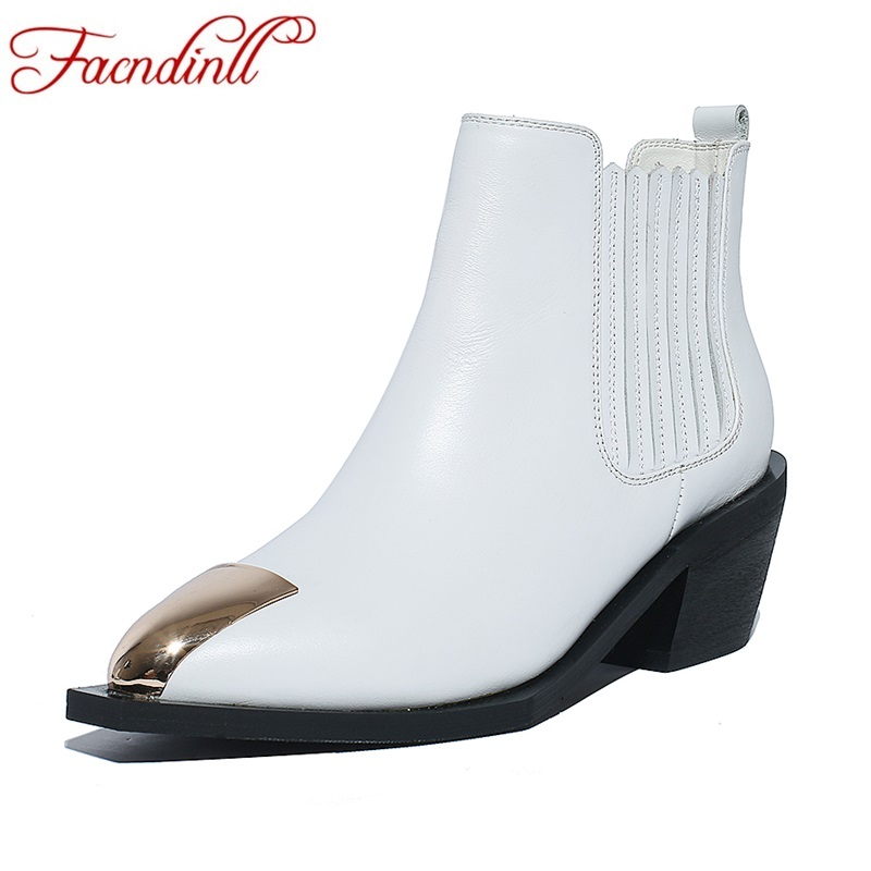 FACNDINLL women shoes 2017 new autumn winter ankle boots genuine leather high heels black white shoes woman riding casual boots