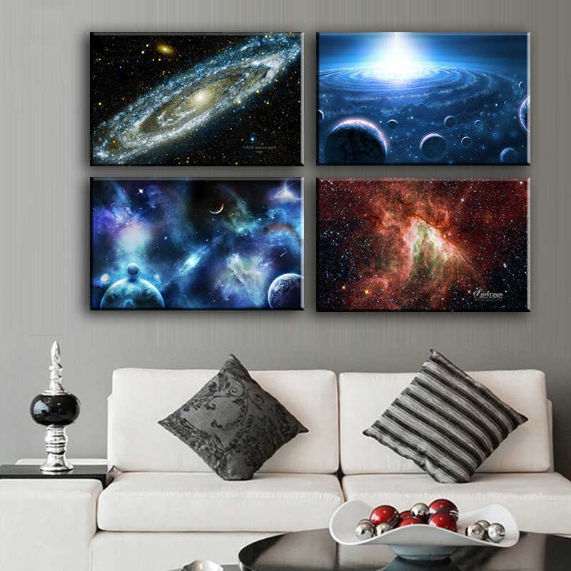 Canvas Painting Wall Art 4pcs Space Body Wall Painting Print On Canvas For Home Decor Ideas Paints Pictures Art No Framed Print On Canvas Painting Printcanvas Painting Aliexpress