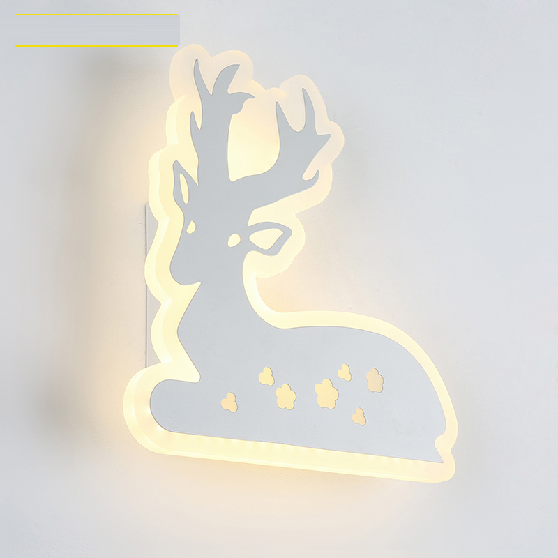Led bedside lamp simple modern ultra-thin deer living room corridor wall light personality creative entrance aisle wall lamp CL modern wooden led wall lamp bed room bedside natural solid wood white glass bedroom bedside aisle corridor entrance wall sconce