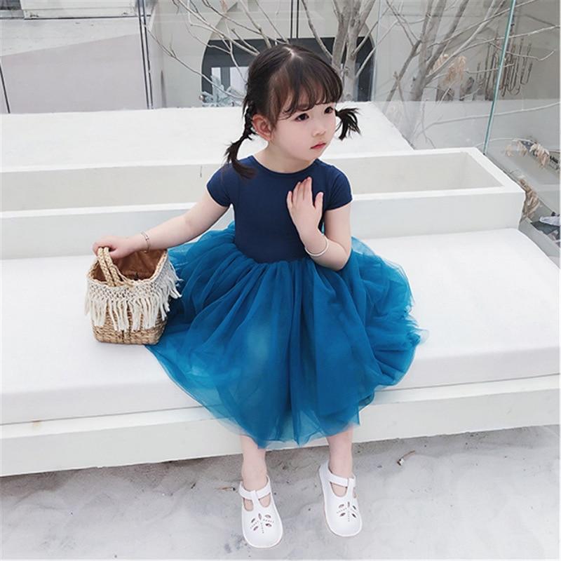 Mihkalev 2020 Summer Kids Dresses For Girls Princess Dress For Birthday Party Wear Patchwork Children Mesh Tutu Dresses
