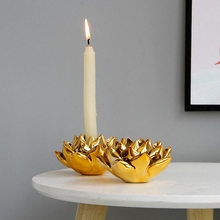 PINNY Gold Plated Petals Candlestick Romantic Ceramic Stick Candle Holders Wedding Decorations Home Decoration Accessories
