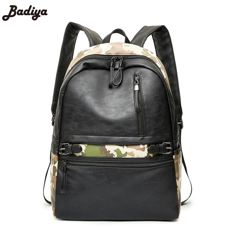New Design Male Bags Patchwork Fashion Mens Backpack High Quality PU Leather Young Mans Back Pack