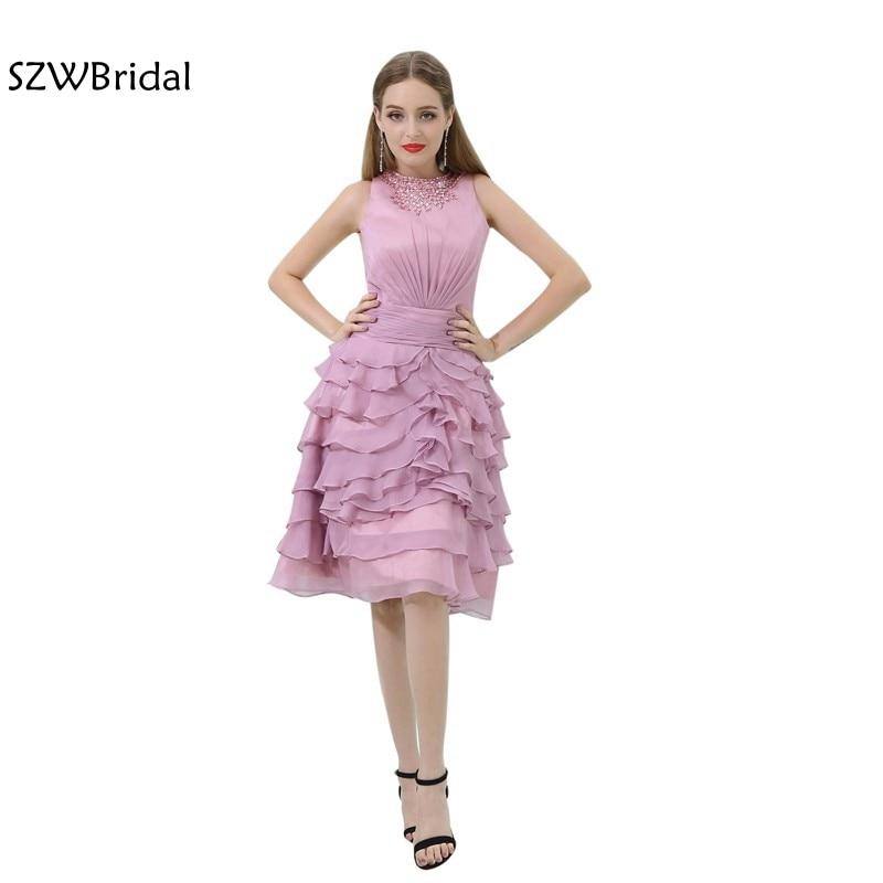 Nouveauté vestido de festa curto en mousseline de soie thé longueur Ruffy robes de bal courte 2019 Vestido de festa gala jurken robe de bal