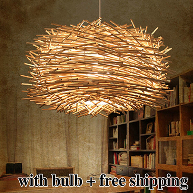 Free shipping modern wicker pendant light bird cage hand knitting pendant hanging lamp American style for living room