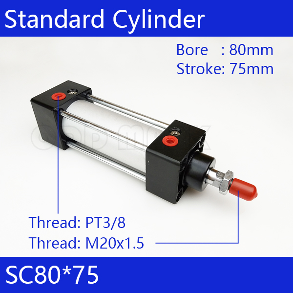 SC80*75 Free shipping Standard air cylinders valve 80mm bore 75mm stroke SC80-75 single rod double acting pneumatic cylinder free shipping sc 32mm bore 75mm stroke double acting single thread rod standard pneumatic air cylinder sc32 75