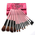 Makeup brush 15PCS make-up brush wool suit makeup brush cylinder  goat hair Color Pink snake Pink snakeskin makeup brush sets