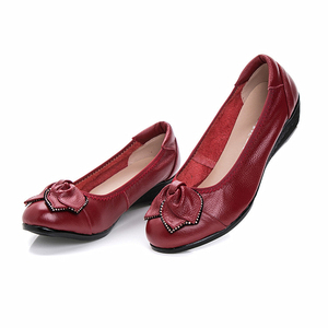 Image 5 - DONGNANFENG Women Mother Old Shoes Flats Loafers Cow Genuine Leather Pigskin Rubber Suede Slip On Bowknot Casual 34 43 HC 1107