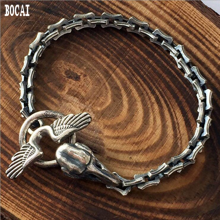 Real 925 solid silver bracelet Yamamoto silver men's crow skull handmade bracelet 5.5MM old angular chain