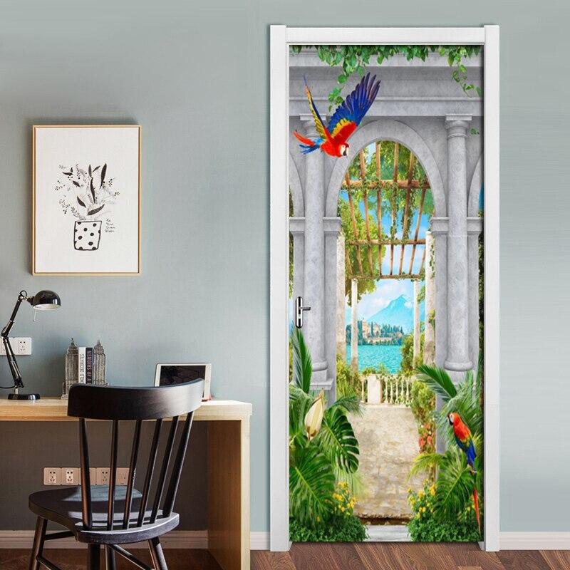 2Pcs set DIY Door Stickers PVC Waterproof Self adhesive Garden Arches Lake View 3D Wallpaper Living