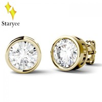 Certified 1 Carat Classic Round Cut Moissanites Solid 18k Yellow Gold Wedding Engagement Stud Earrings For Women Fine Jewelry