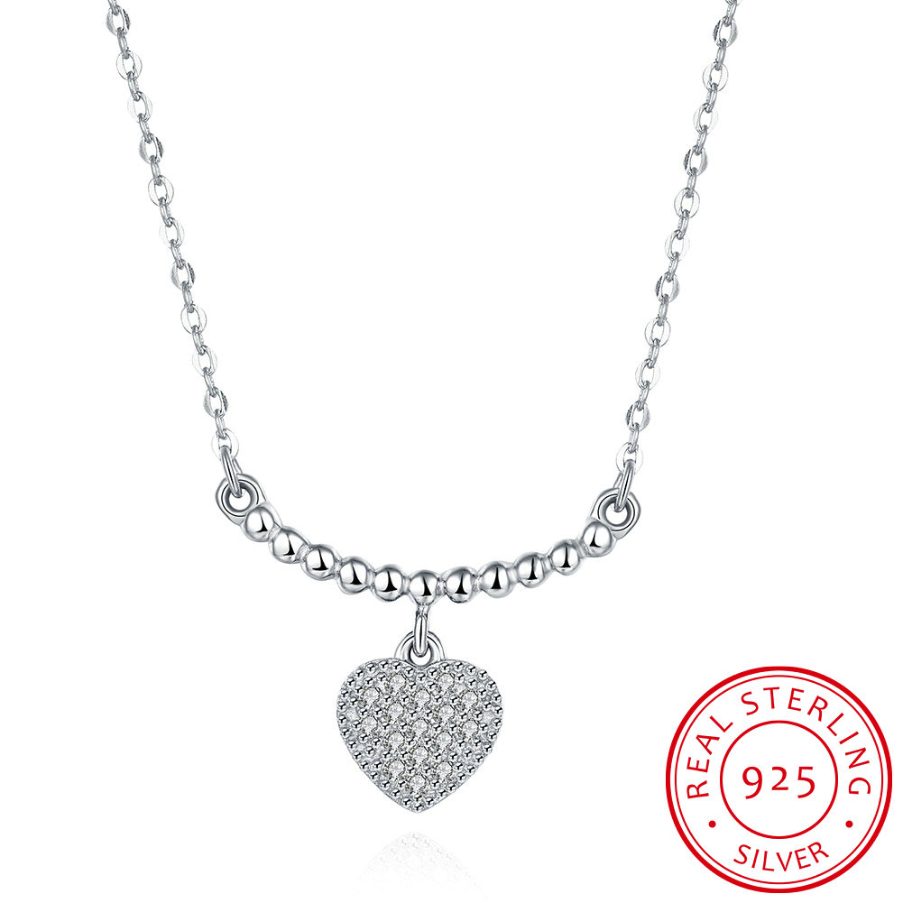 Ann Snow Charming 925 Sterling Silver Heart Zirconia Pendant Necklaces Fine Jewelry Chokers Necklaces For Women