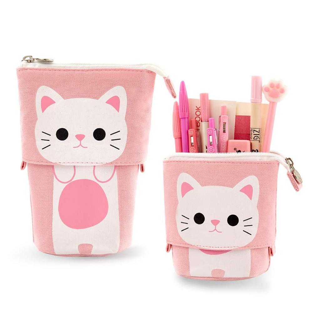 Transformer Stand Store Pencil Holder Canvas+PU Cartoon Cute Cat Telescopic Pencil Pouch Bag Stationery Pen Case Box With Zipper
