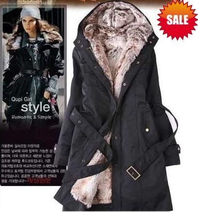 lady women's fashion winter fur coats jacket long Windbreaker Wool Blends coat outwear thick clothes Clothing