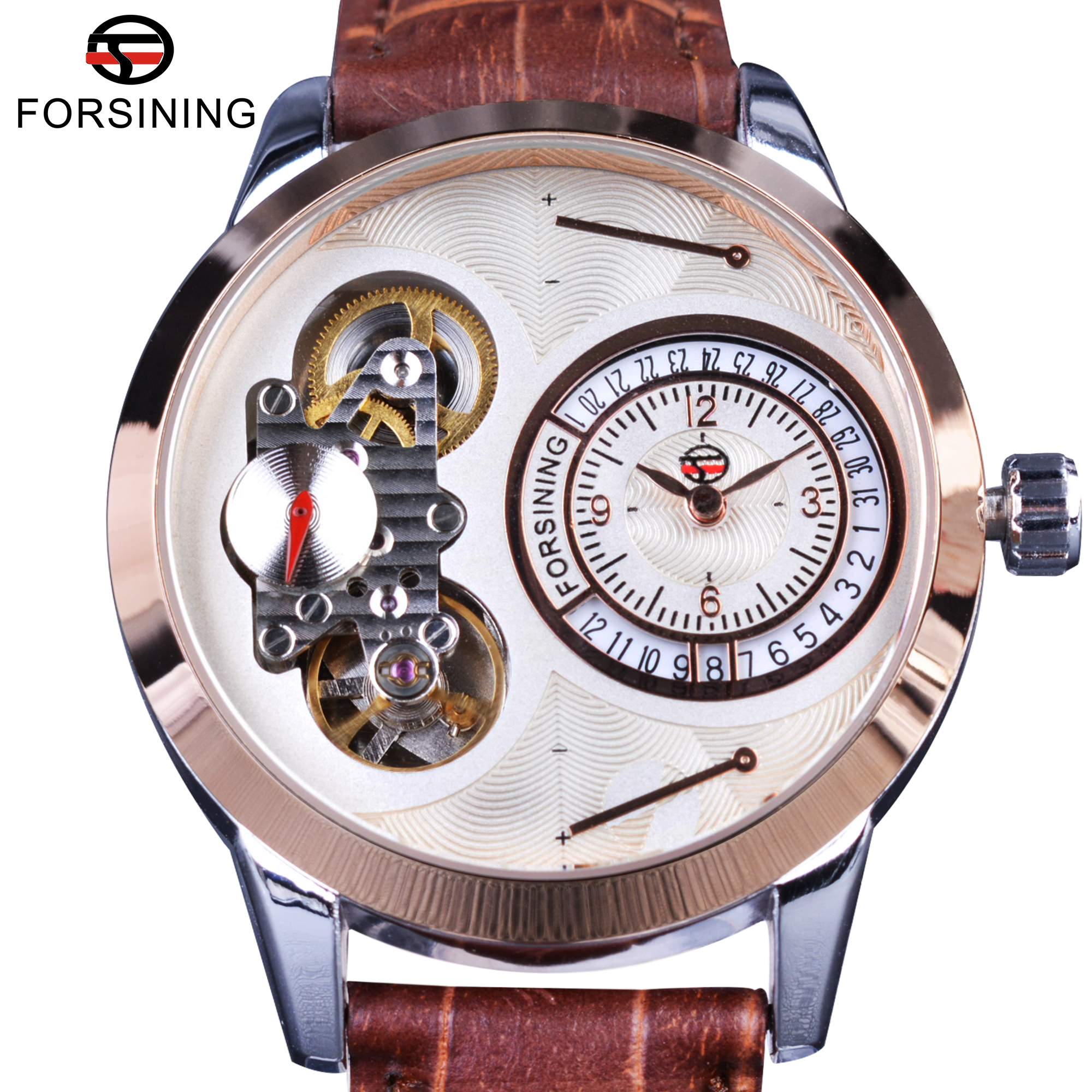 Forsining – montre automatique de luxe en cuir véritable pour homme, accessoire à la mode, avec deuxième cadran, tourbillon Rose, boîtier doré, marron, marque supérieure | AliExpress