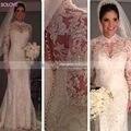 Saudi Arabia Wedding Dresses Custom Made Full Sleeve Appliques Mermaid Wedding Gowns Beading Crystal Bridal Dress W625