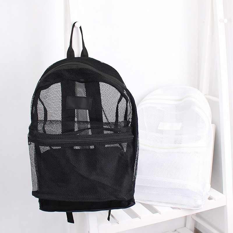 Женский Повседневный сетчатый рюкзак Harajuku студенческие школьные сумки дышащие сумки черный белый легкий дорожный рюкзак пляжная сумка