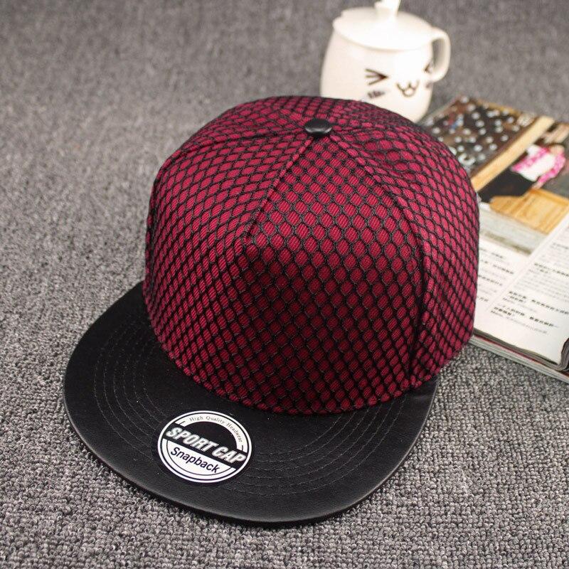 2018 Men Solid Fitted Sun Bone Male Brim Straight Snapback Chapeau Hiphop Net   Cap   Adjustable   Baseball     Cap