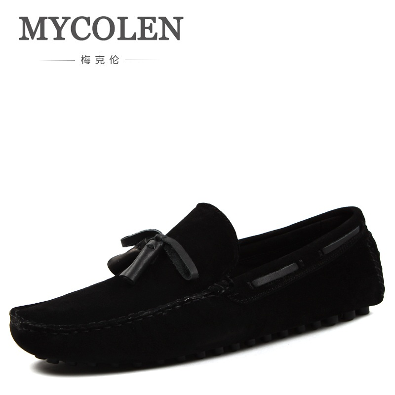 MYCOLEN Spring Summer Newest Men Genuine Leather Shoes Fashion Tassel Men Wedges Shoes Solid Slip On Man Driving Shoes 2015 new spring and summer british top fashion leisure driving full grain embossed genuine leather slip on men s loafers shoes