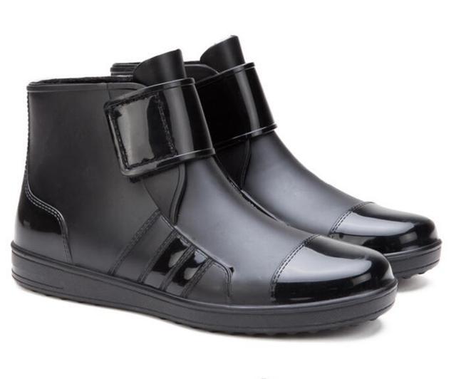 f73a7b69fba YIDAKU Men Pvc Rain Boots Ankle Waterproof Shoes Fashion Rubber Short  Rainboots Black Casual Anti-