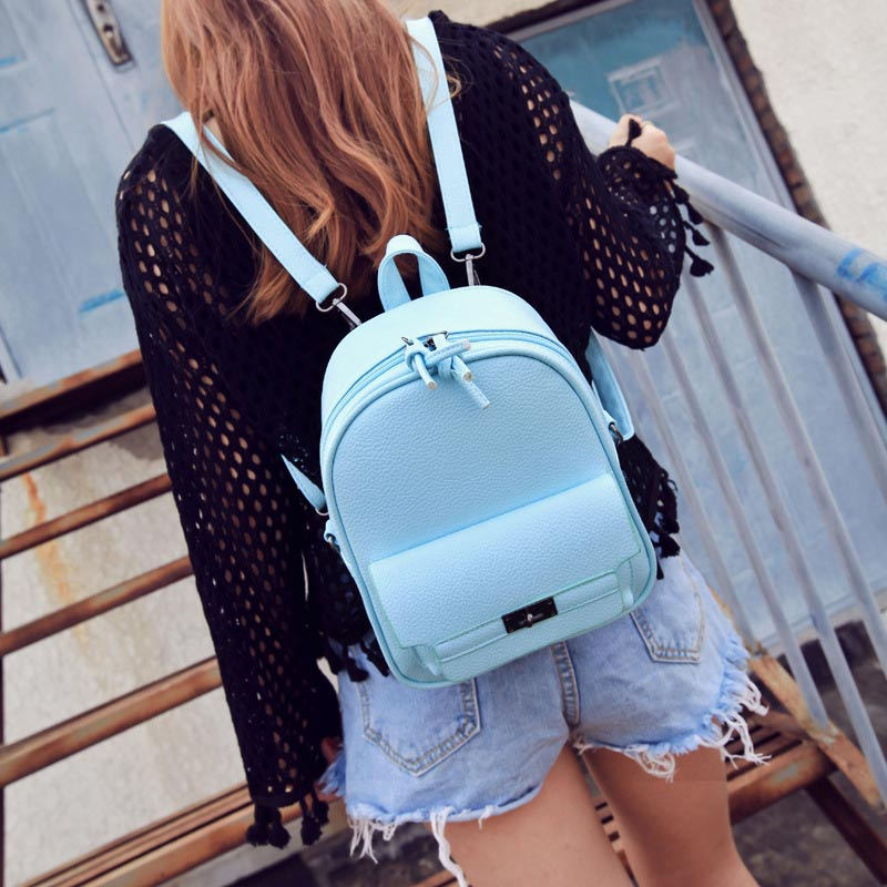 Simple Fashion Women Backpack Leather Solid Color Lichee Pattern Bags Ladies Shopping Travel Girls School Shoulder