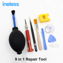 9 in 1 Skilled Cellular Telephone Repairing Opening Instruments Tweezers Pry Spudger Device Package for iPhone 4s 5s 6s iPad Floor Pill