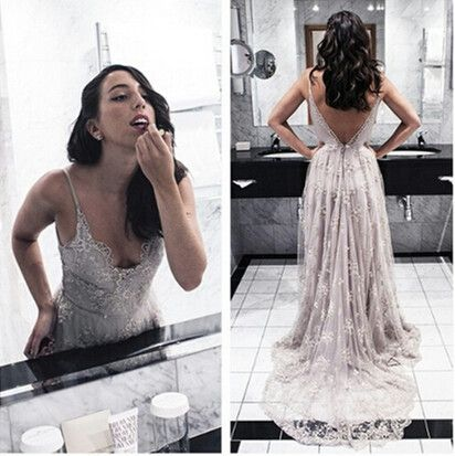 1cd769813b5 HQ Luxurious Silver Lace Prom Dress Spaghetti Straps Deep V Back Sweep  Train Girls Women Formal Dresses Evening Wear