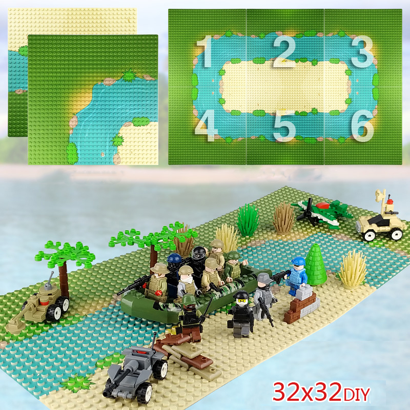 32*32 Dots Sea Beach <font><b>Baseplate</b></font> Grassland River Base Plate Building Blocks Compatible City Figures DIY Bricks Child Toy image
