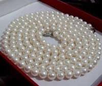 Señorita encanto Jew912 7 - 8 mm blanco AAA cultivadas de agua dulce redondo de la perla 35 ''