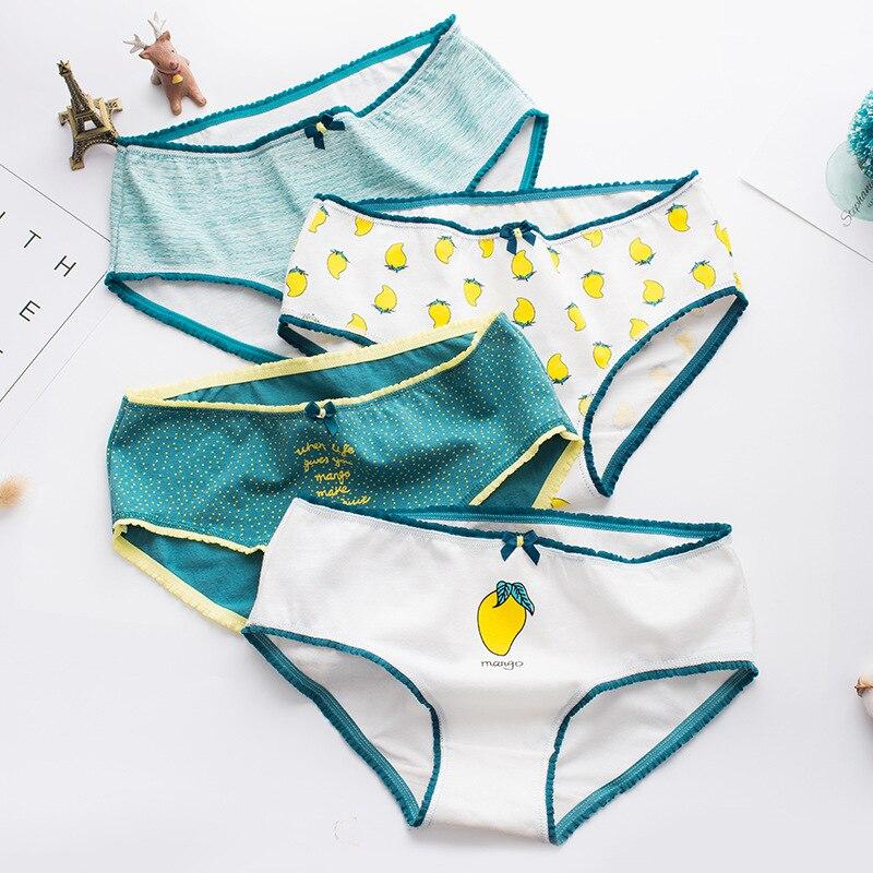 4Pcs Puberty Girls Underpants Mango Fruit Cotton Women Briefs Underwear Panties